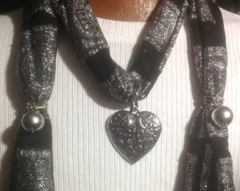 Scarf/Necklace, silver and black