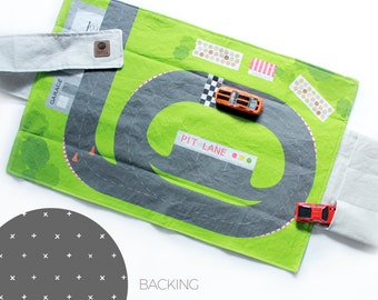 Racetrack Travel Car Mat | Car Play Mat - Grey Plus Backing | Folding Car Mat | Kids Travel Activity