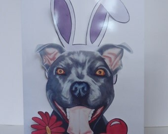 Greetings Card Print - Bunny ears Flower Staffy, Anniversary