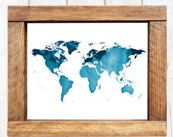 Watercolor World Map BLUE WATERCOLOR - Instant Download
