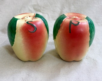 Vintage Hull Pottery Apple Salt and Pepper Shakers