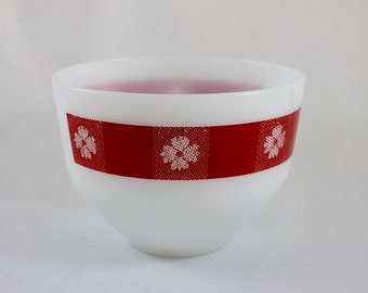 1950's Federal Glass Red Gingham Milk Glass Mixing Bowl