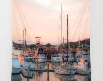Water Tapestry, Saint Augustine, River Tapestry, Florida Tapestry, Boats Tapestry, Ships Tapestry, Boats Wall Hanging, Santa Maria, Daybreak