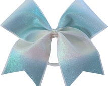 Mint Green Ombre Cheer Bow | Rhinestone Cheer Bow | Ombre Cheer Bow | Cheer Bow | Cheerleading Bow