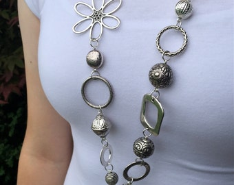 Chunky Silver Lanyard Necklace