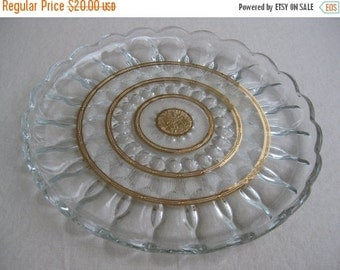 Summer Sale 20% Off Vintage 1970's Fairfield Sun Gold Glass Serving Plate Anchor Hocking
