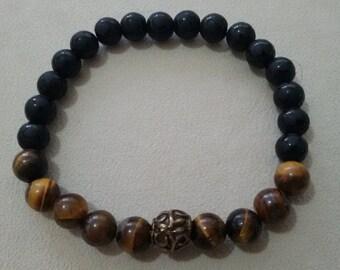 0.8mm Tiger Eye Onyx Stone Handmade Stretchable Bracelet OM021
