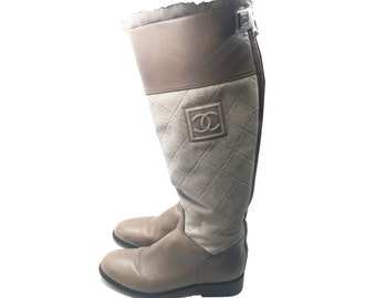 Authentic Chanel Brown Leather Suede Fur Hunter Boots 38