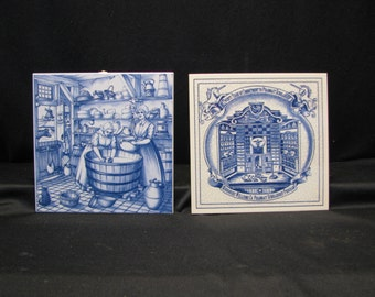 2 Vintage Handpainted Delft Blue Kitchen Tile/Trivets