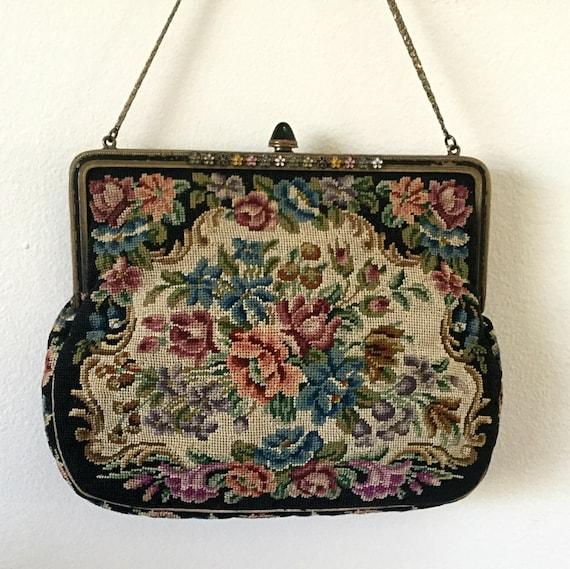 Vintage Petit Point Handbag Needlepoint Antique by Insideredo