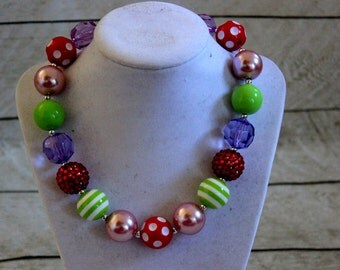 bubblegum chunky necklace girls red pink purple green beaded necklace chunky bead necklace chunky bubblegum necklace bubble gum