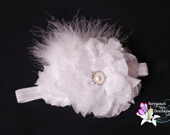 White Flower Feather Rhinestone Headband, Vintage Headband, Flower Girl Headband - SB-001W
