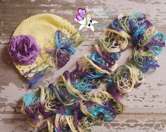 Purple Turquoise Green Yellow Ruffle Scarf, Hat Scarf Flower Set, Kufi Hat, Beanie, Toddler Girl, Spring, Fall, Winter - SBSH-001C