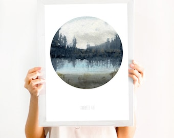 Digital print. Watercolour Print of Nordic scenery and landscape - watercolor of Scandinavian landscape from the deep forests and lakes