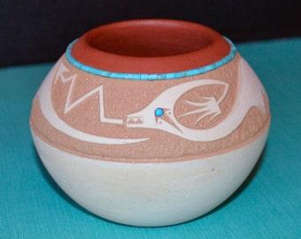 San Ildefonso Pueblo Pot by John Gonzales, Sgraffito Design of Avanyu, Native American