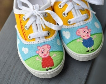 Peppa Pig and George Inspired Handpainted Children's Sneakers