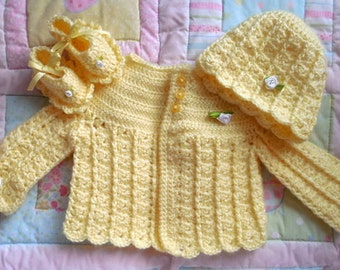 Crochet baby sweater yellow crocheted baby sweater handmade yellow girls sweater baby sweater newborn new baby gift 0-3 TillieLuvsTreasures