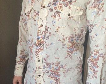 Men's vintage floral western pearl snap shirt