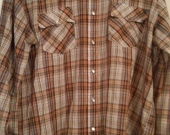 Men's western plaid shirt (L)