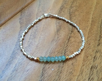 Sea foam aqua Chalcedony gemstone and silver karen hill tribe bracelet
