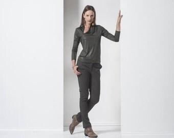 Green blouse - womens shirt - Womens tops - Green womens full winter top-  long sleeves top - long sleeves blouse- winter blouse