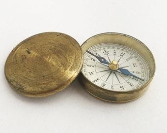 Antique Victorian Desk Compass Brass Compass