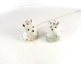 Snow Fox Necklace Winter Fox Jewelry Ceramic White Fox Charm Animal Snow White Silver Jewelry Fox Lover Fox Gift Fox Pendant
