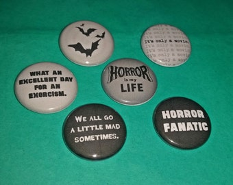 Horror Movie-Inspired 1-inch Buttons   Set A