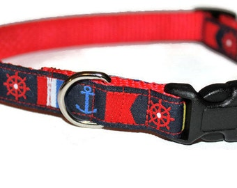 "Nautical Small Dog Collar 5/8"" Wide"