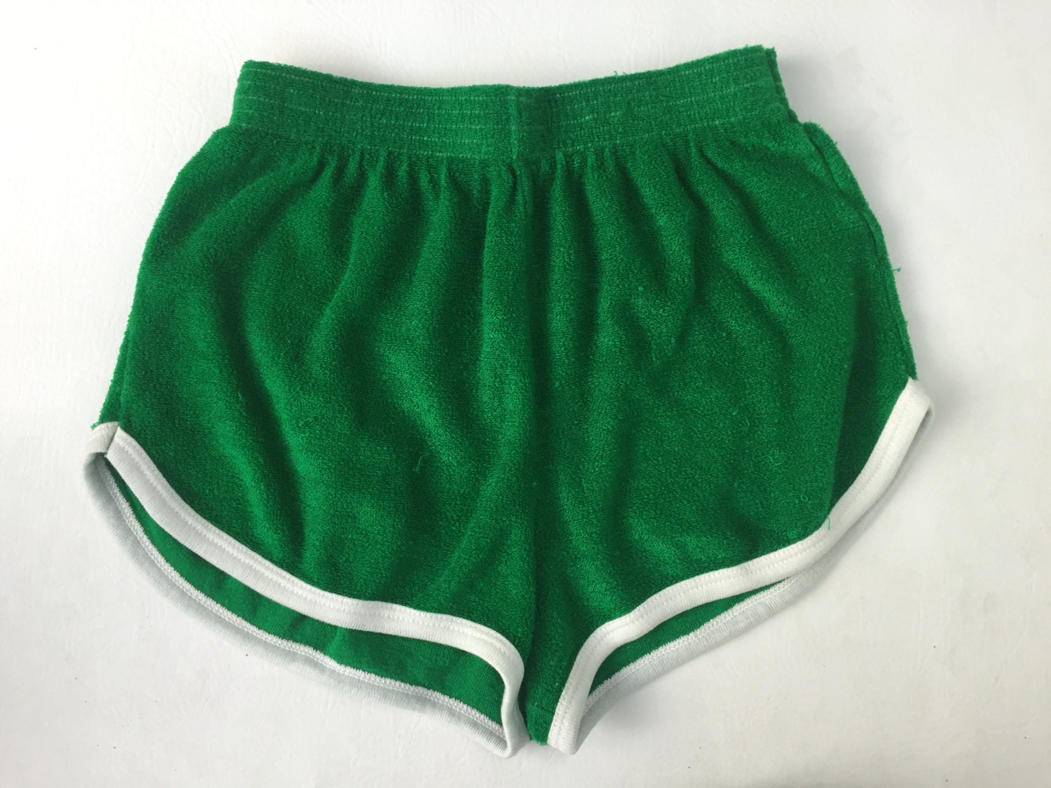 70's Terry Cloth Kelly Green High Waist Gym Shorts - High Waist ...