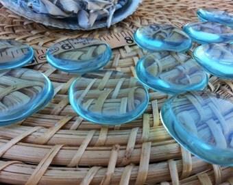 Med Aqua Blue Obsidian Palm Stone, Chakra Stone, Worry Stone, Fidget Stone~1 Reiki infused polished flat crystal approx 1.75in