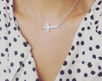 Silver Cross Choker Necklace