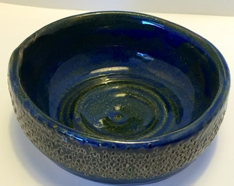 Small Blue and Green Hand Built Pottery Bowl  (B#48)