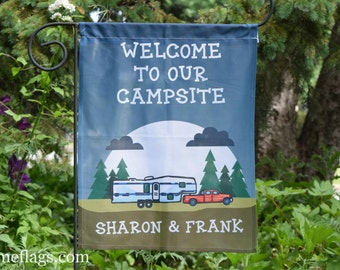CF-27, Personalized Camping Flag, Garden or House Flag, Welcome to our Campsite, 5th Wheel