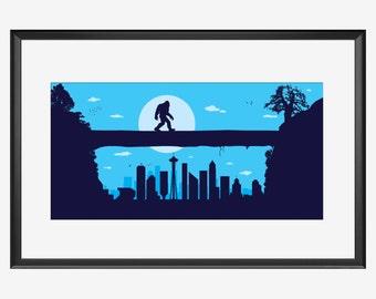 Seattle skyline print, Sasquatch Print, Bigfoot print, Bigfoot Poster, Sasquatch poster, Seattle print, Seattle art, Seattle poster, Bigfoot