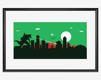 Milwaukee skyline print, Milwaukee poster, art, Kaiju poster, Kaiju art, Kaiju print, Milwaukee Wisconsin, Milwaukee Bucks inspired colors