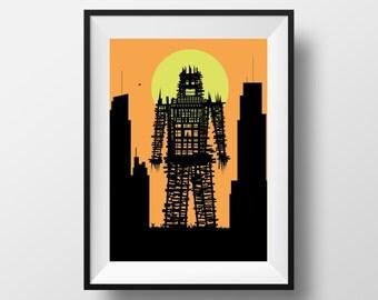 Radiohead wicker man inspired print, Radiohead art, Radiohead print, Radiohead poster, wicker man art, wicker man print, wicker man poster