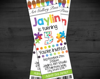 Little Artists Birthday Ticket Invitation - Art Party Ticket Invite - Art Gallery Birthday Invite - Art Birthday - Printable or Printed 2x6