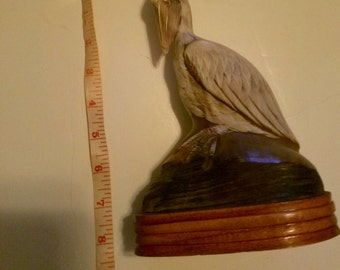 1970s Asian Water Buffalo Horn Carved Pelican