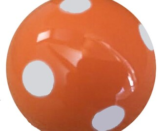 Hand Painted Orange & White Polka Dot Ceramic Drawer Cabinet Knobs