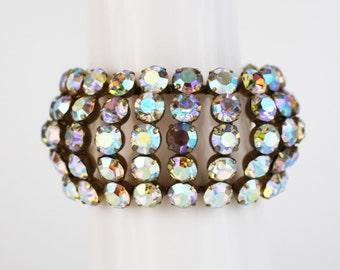 Rhinestone Cuff - Aurora Borealis Stone Bracelet - Vintage Rhinestone Chunky Statement Bracelet