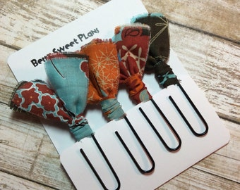 Fabric Clips Fall Florals - Planner Clips / Bookmarks
