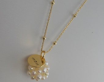 Mother's day necklace, mom necklace, pearl necklace
