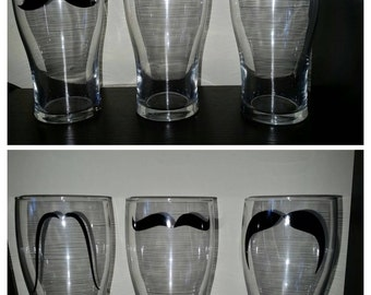 Moustache 16 oz Pint Glasses