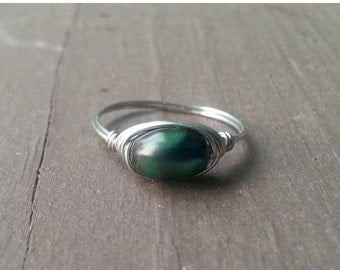 ON SALE silver wire wrapped ring with oval 8mm green/blue multicolor bead