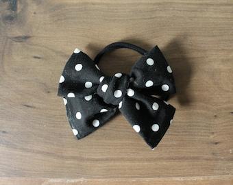 Big Big dark black wns white polka dot (headband or clip)