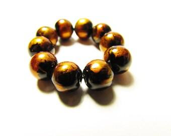 D-00939 - 10 Glass beads 8mm Black-Orange