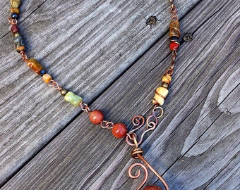 Soul Fire Carved Skull Handmade Chain Agate Necklace