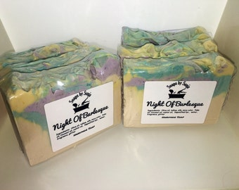 Handmade Tallow Soap, night of burlesque, lavender scented soap, on sale