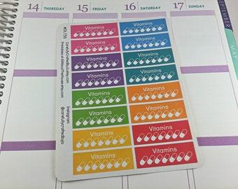 Vitamin Planner Stickers, Rainbow Sticker, Vitamins, Pills Checklist Sticker, Erin Condren, Plum Paper, MAMBI, planner accessory